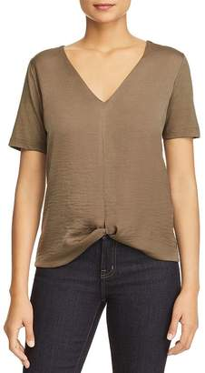 Kenneth Cole Knot-Front Mixed-Media Top