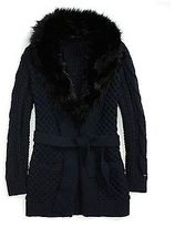 Tommy Hilfiger Women's Fur Collar Cardigan
