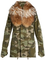 MR & MRS ITALY Detached fur-collar camouflage-print parka