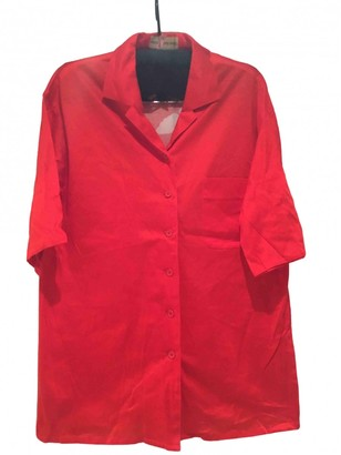 Hanae Mori Red Cotton Top for Women Vintage