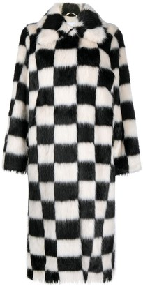 Stand Studio Nino checked faux-fur coat