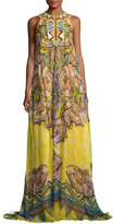 Roberto Cavalli Beaded Silk Keyhole Maxi Dress, Yellow