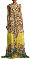 Roberto Cavalli Beaded Silk Keyhole Maxi Dress, Yellow