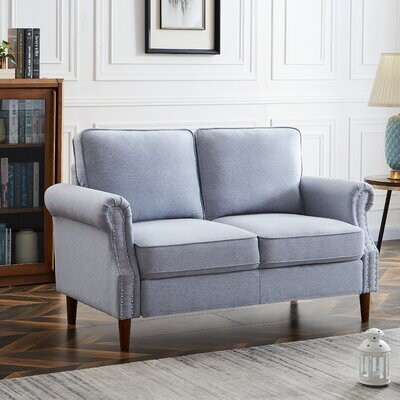 """Thumbnail for your product : Winston Porter Zaffelare 55.9"""" Linen Rolled Arm Loveseat"""