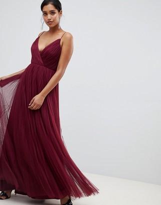 ASOS DESIGN cami pleated tulle maxi dress