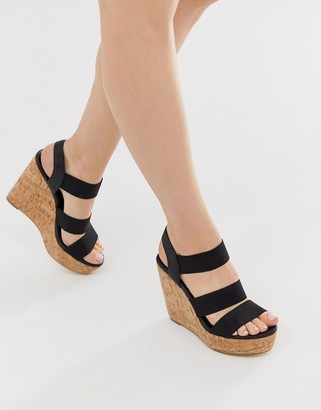 London Rebel high heeled cork wedges-Black