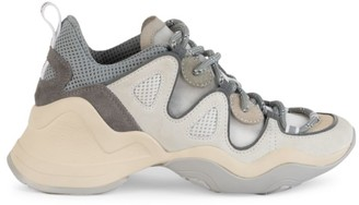 Fendi Mixed-Media Chunky Leather Sneakers