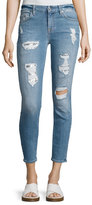 7 For All Mankind Destroyed Sequin Skinny Ankle Jeans, Indigo