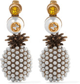 Gucci Gold-plated, Faux Pearl And Crystal Clip Earrings