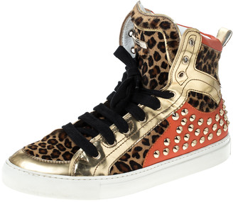 DSQUARED2 Multicolor Leopard Print Calfhair and Patent Leather Studded High Top Sneakers Size 43