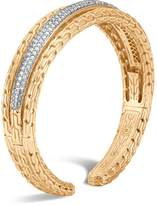John Hardy 18K Yellow Gold Classic Chain Pavé Diamond Small Kick Cuff