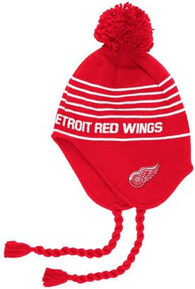 adidas Men's Red Detroit Red Wings Stripe Tassel Pom Knit Hat