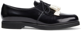 Tod's Gomma Fringed Two-tone Glossed-leather Loafers