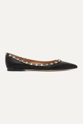 Valentino Garavani The Rockstud Textured-leather Point-toe Flats - Black