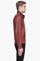 McQ by Alexander McQueen Burgundy Red Goat Leather Bomber