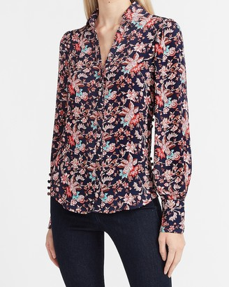 Express Floral Hi-Lo Button Side Puff Sleeve Portofino Shirt