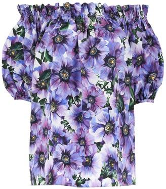 Dolce & Gabbana Off-Shoulder Floral Blouse