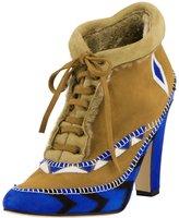 Manolo Blahnik Eskima Suede Moccasin Ankle Boot, Francia Blue
