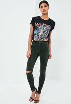 Missguided High Waisted Slash Knee Skinny Jeans Green