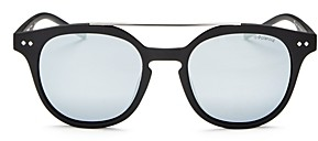 Polaroid Men's Polarized Mirrored Brow Bar Round Sunglasses, 51mm