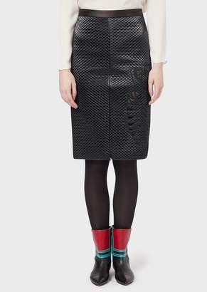 Emporio Armani Quilted-Satin, Midi Pencil Skirt With Tiger Cut-Out