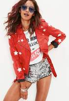 Missguided Red Star Applique Faux Leather Biker Jacket