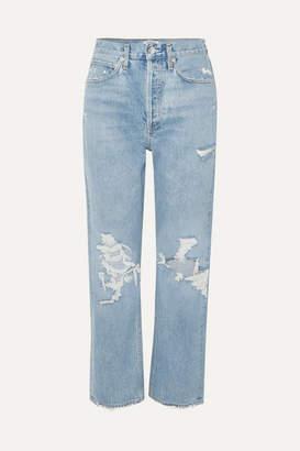 A Gold E AGOLDE - '90s Distressed High-rise Boyfriend Jeans - Mid denim