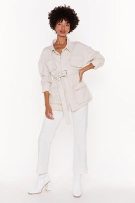 Nasty Gal Womens Zip Code Belted Denim Jacket - cream - 6