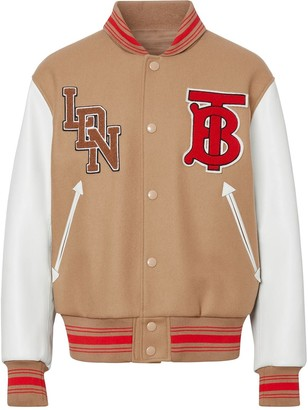 Burberry contrast sleeve logo graphic bomber jacket