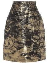 Oscar de la Renta Linen and silk-blend skirt