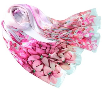 Prettystern Extra Long Pure Satin Silk Women Shawl Scarf Chinese Painting Art Print -lilies Pink