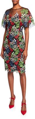 Rickie Freeman For Teri Jon Floral Lace Flounce-Sleeve Sheath Dress w/ Tulle Yoke