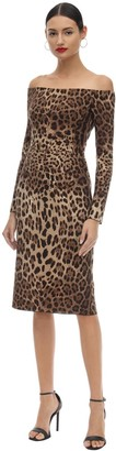 Dolce & Gabbana Leopard Off-the-shoulder Crepe Dress