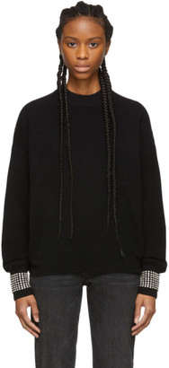 Alexander Wang Black Wool Crystal Crewneck Sweater