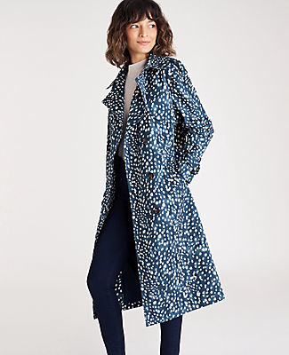 Ann Taylor Spotted Oversized Trench Coat