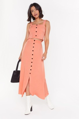 Nasty Gal Womens One Split Wonder Button-Down Midi Skirt - Orange - S, Orange