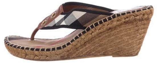 5b18f705877 Nova Check Espadrille Wedges Brown Nova Check Espadrille Wedges