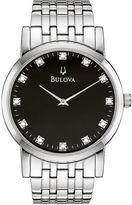 Bulova Mens Silver-Tone Diamond-Accent Watch 96D106