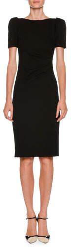 Giorgio Armani Bateau-Neck Short-Sleeve Sheath Dress w/ Ruched Side