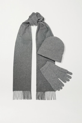 Johnstons of Elgin Cashmere Beanie, Scarf And Gloves Set - Gray