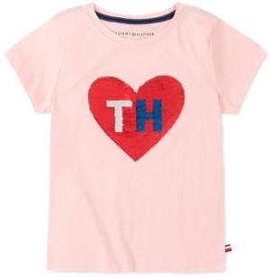 Tommy Hilfiger Big Girls Flip Sequin Heart T-Shirt
