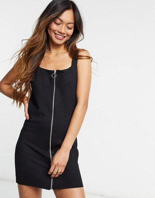 Monki zip front dress in black