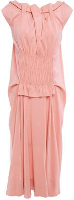 Carven Shirred Washed Silk-blend Dress