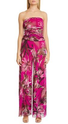 Fuzzi Leopard & Floral Print Strapless Mesh Jumpsuit