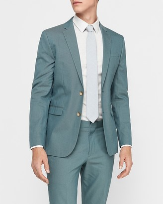 Express Extra Slim Teal Cotton-Blend Stretch Suit Jacket