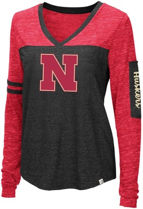 Colosseum Women's Heathered Black Nebraska Cornhuskers Stance Sleeve Stripe Patch Long Sleeve T-Shirt