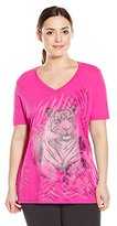 Just My Size Women's Plus-Size Printed Short-Sleeve V-Neck T-Shirt