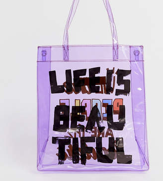 clear Life Is Beautiful LIFE IS BEAUTIFUL unisex printed tote bag