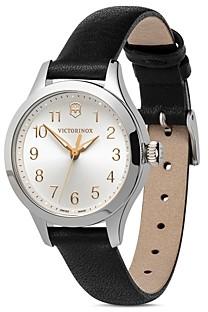 Victorinox Alliance Black Leather Strap Watch, 28mm