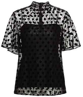 Akris Punto Sheer Velvet Polka Dot Short-Sleeve Blouse